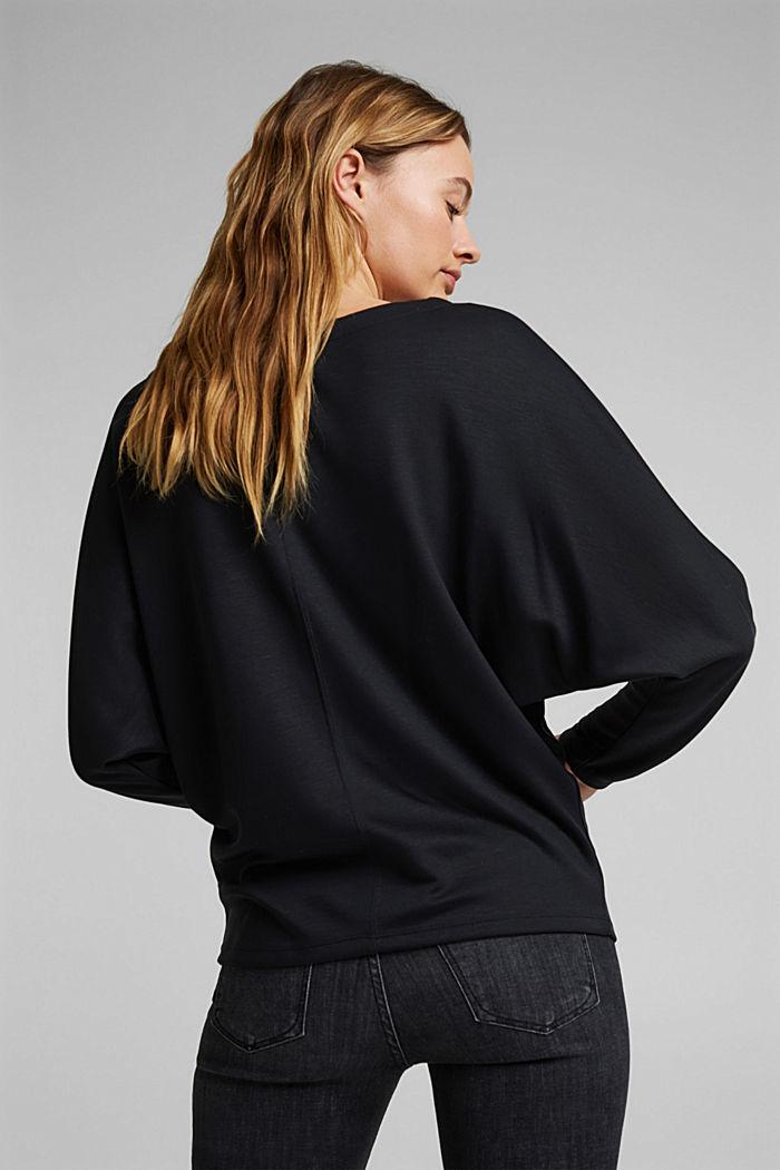 Long sleeve top with batwing sleeves, BLACK, detail image number 3