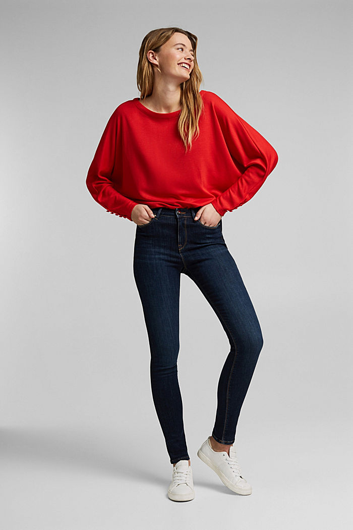 Long sleeve top with batwing sleeves, RED, detail image number 1