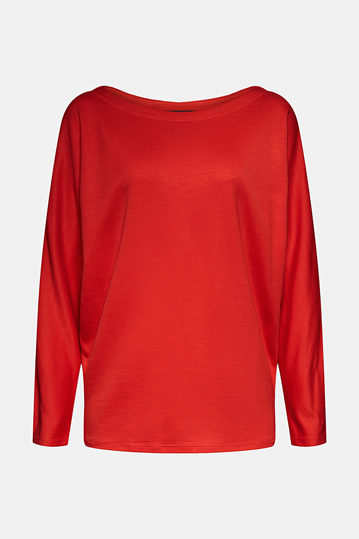Long sleeve top with batwing sleeves, RED, detail image number 6