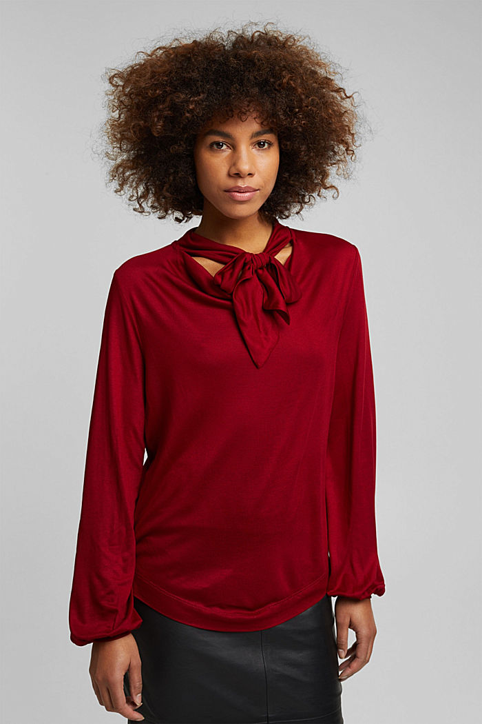 Long sleeve top made of LENZING™ ECOVERO™, DARK RED, detail image number 0