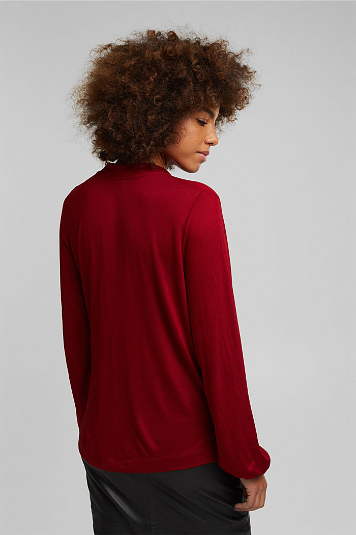 Long sleeve top made of LENZING™ ECOVERO™, DARK RED, detail image number 3