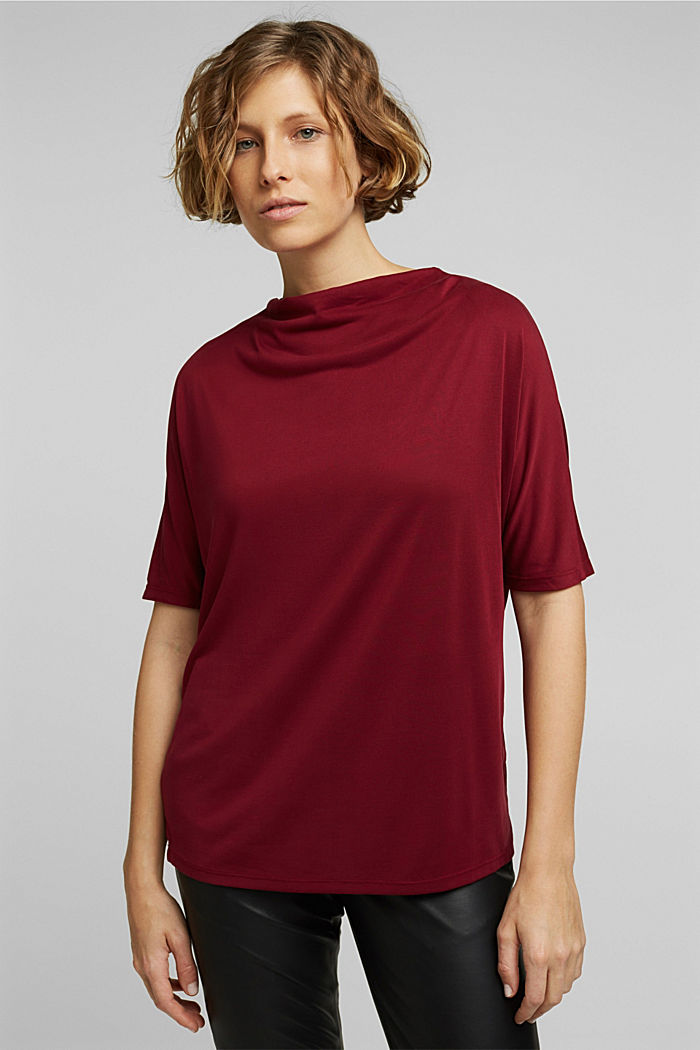 Flowy stretch top, BORDEAUX RED, detail image number 0