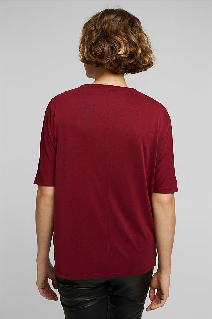Flowy stretch top, BORDEAUX RED, detail image number 3