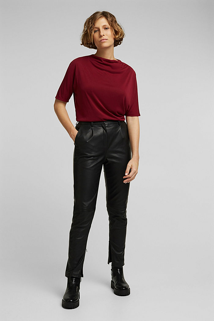 Flowy stretch top, BORDEAUX RED, detail image number 1