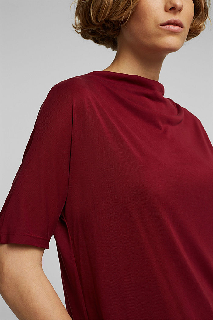 Flowy stretch top, BORDEAUX RED, detail image number 2