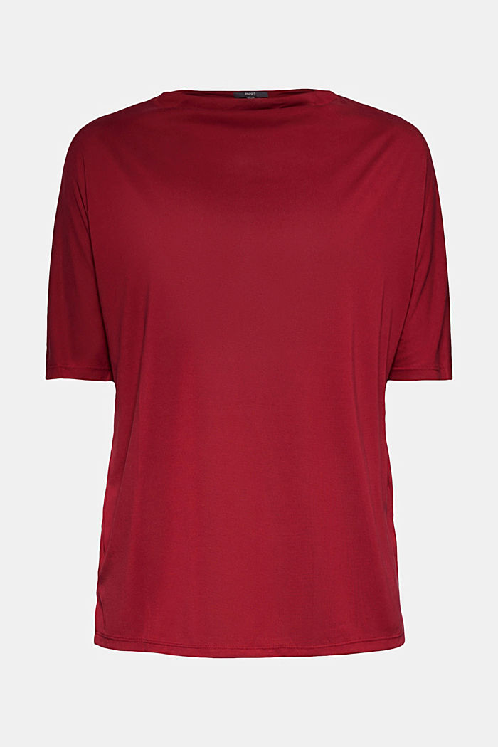 Flowy stretch top, BORDEAUX RED, detail image number 5