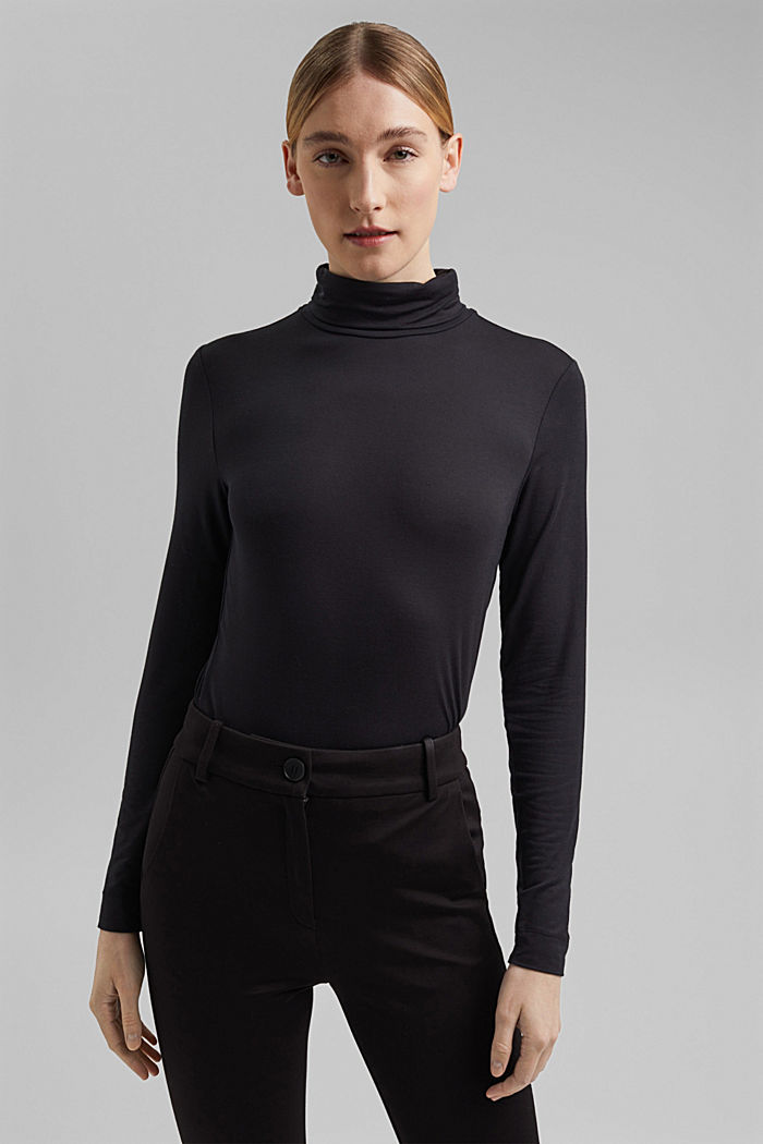 Long sleeve polo neck top made of modal, BLACK, detail image number 0