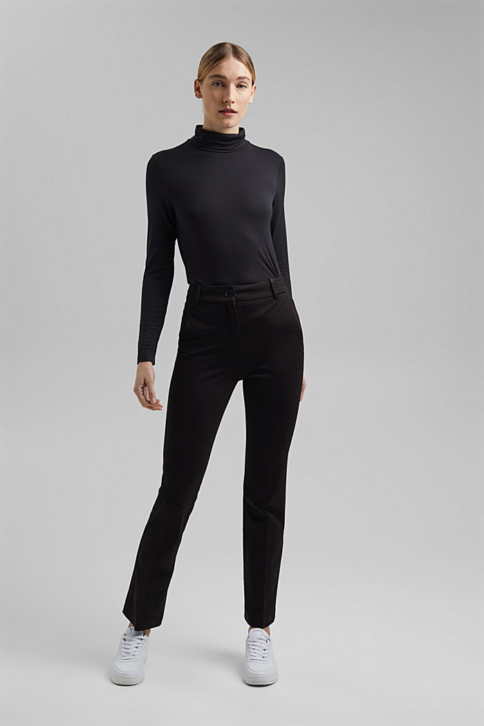 Long sleeve polo neck top made of modal, BLACK, detail image number 1