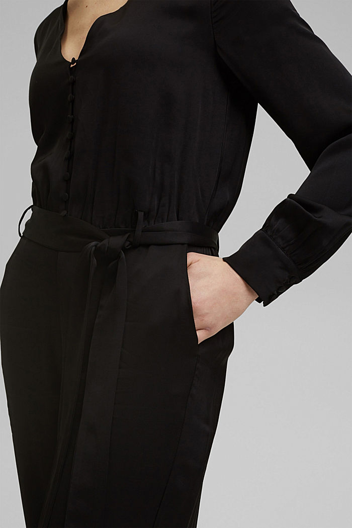 Satin jumpsuit finished with LENZING™ ECOVERO™, BLACK, detail image number 2