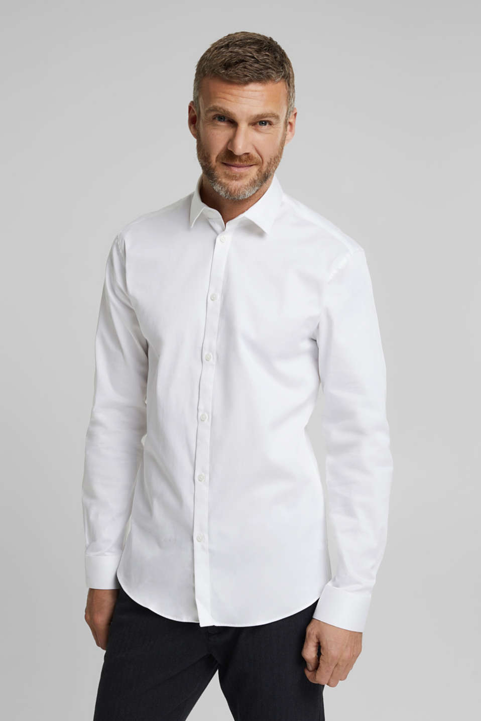 Esprit - Twill shirt with organic cotton