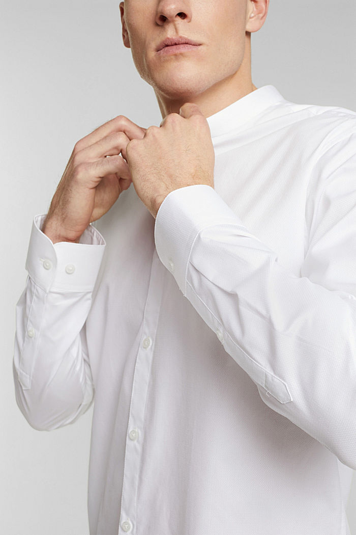 Textured shirt made of 100% organic, WHITE, detail image number 2