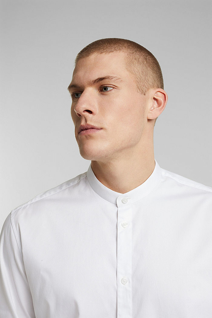 Textured shirt made of 100% organic, WHITE, detail image number 5