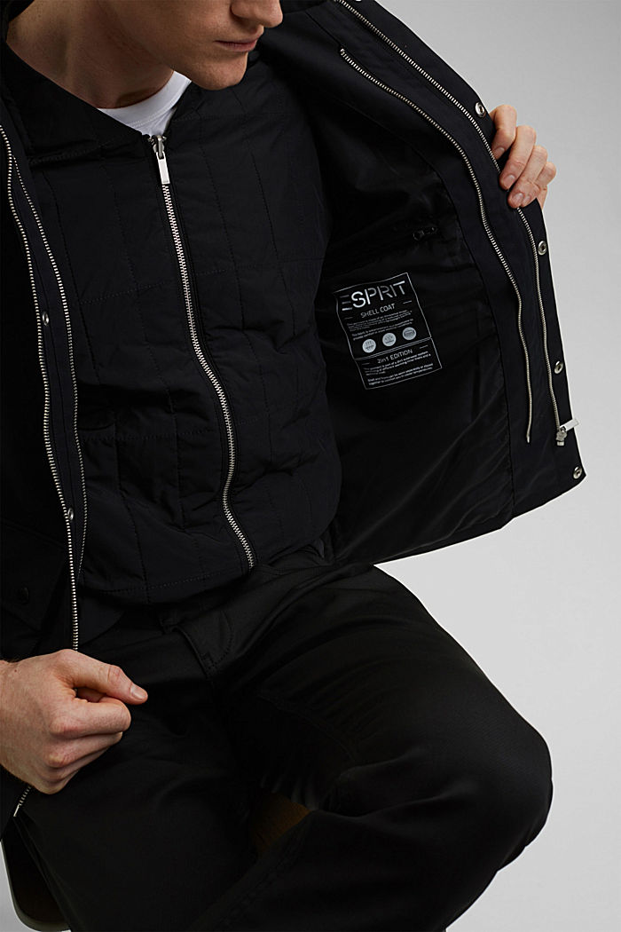 #ReimagineFlexibility 2-in-1 quilted jacket with wool wadding, BLACK, detail image number 2