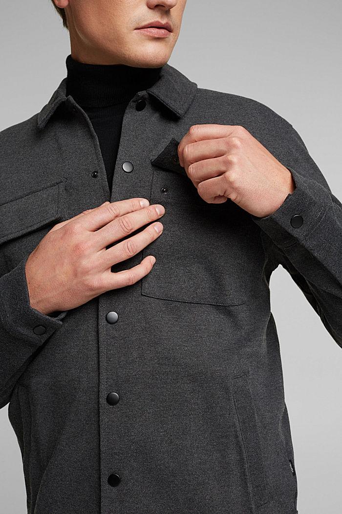 Sweat-Cardigan mit Bio-Baumwolle, ANTHRACITE, detail image number 2