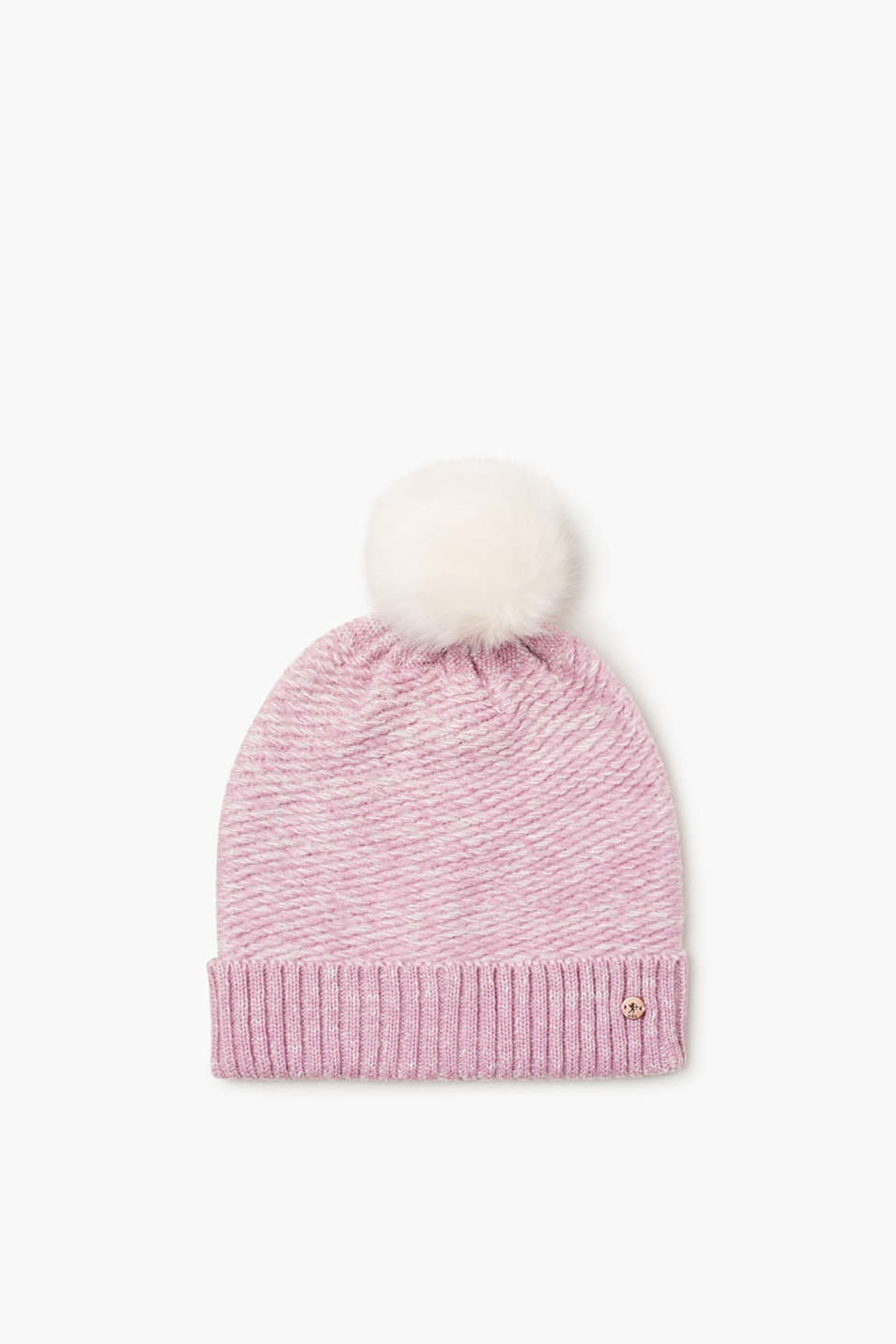 This hat warms, adds trend to your winter look and is fashionably melange and with a faux-fur pompom!