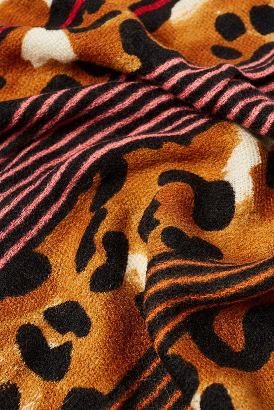 Scarf with a bold mix of patterns