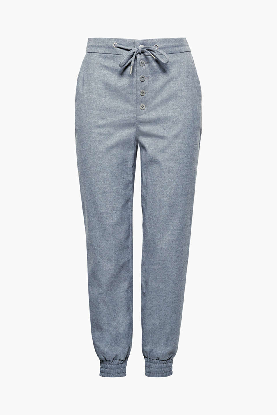 Relaxed fit, stylish details: soft flannel tracksuit bottoms with a stunning button placket