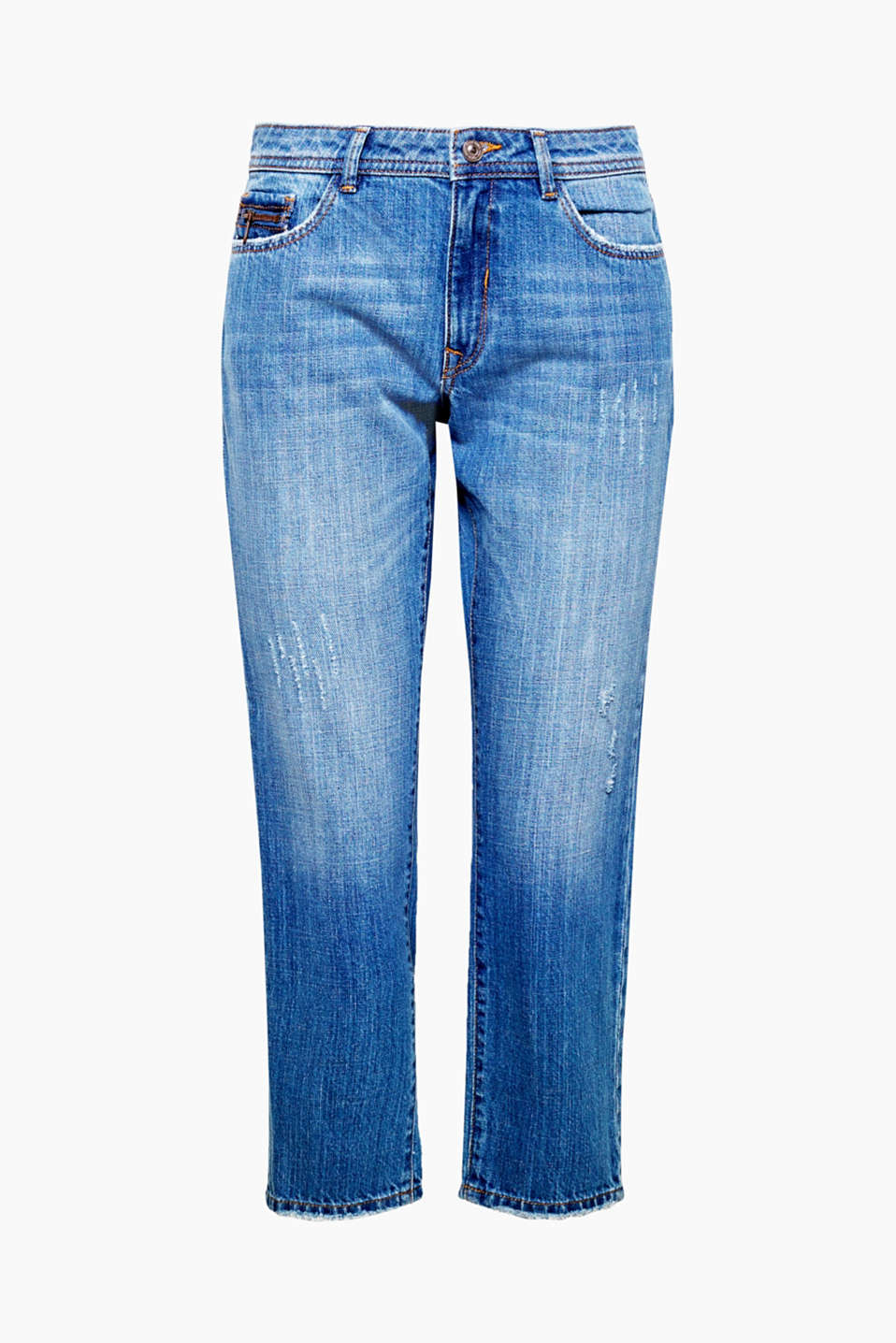 The fashionably cropped cut and pre-worn finish make these jeans perfect for a casually cool, on-trend look.