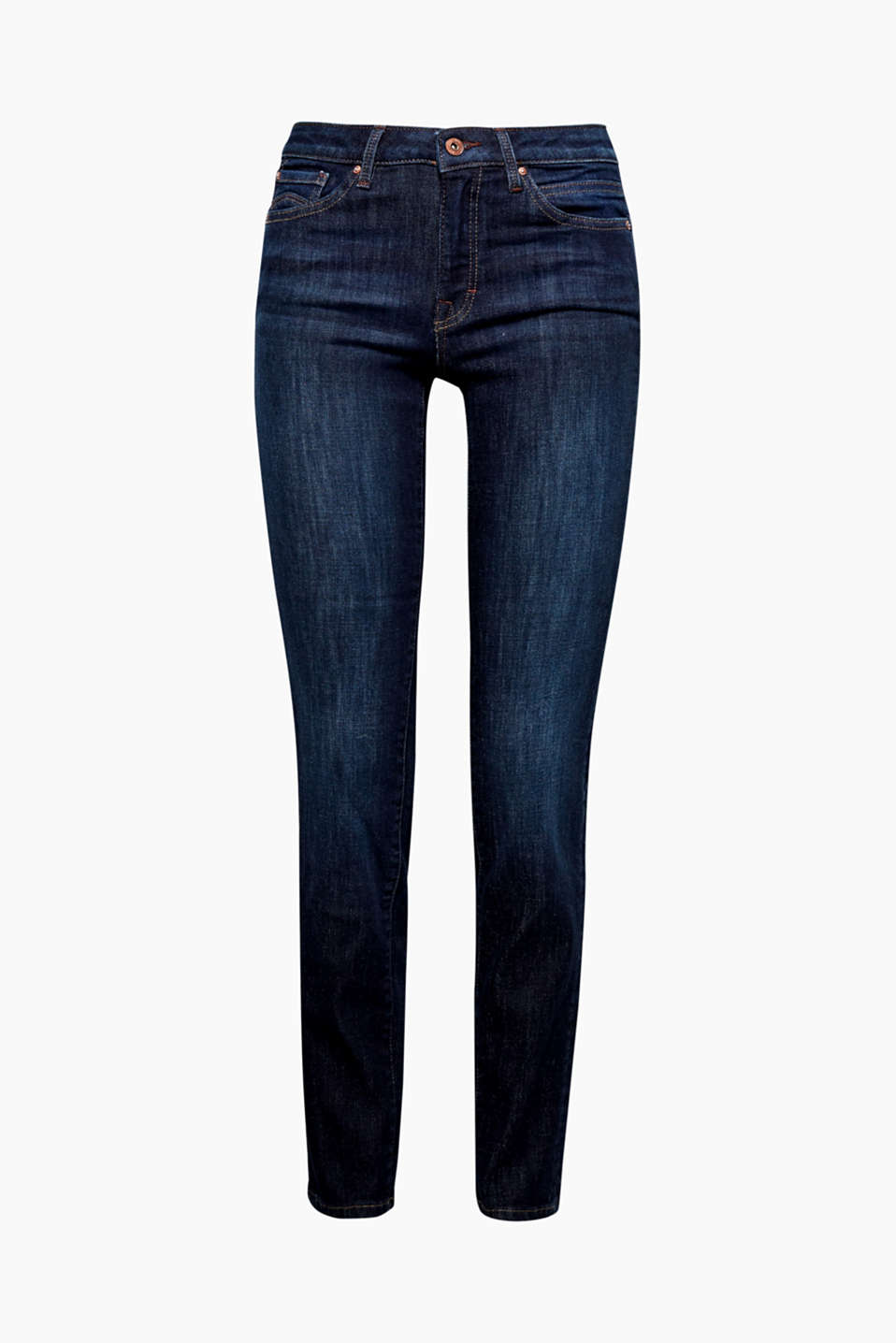 These dark blue stretch jeans with garment-washed effects and patch flap pockets is a cool classic.