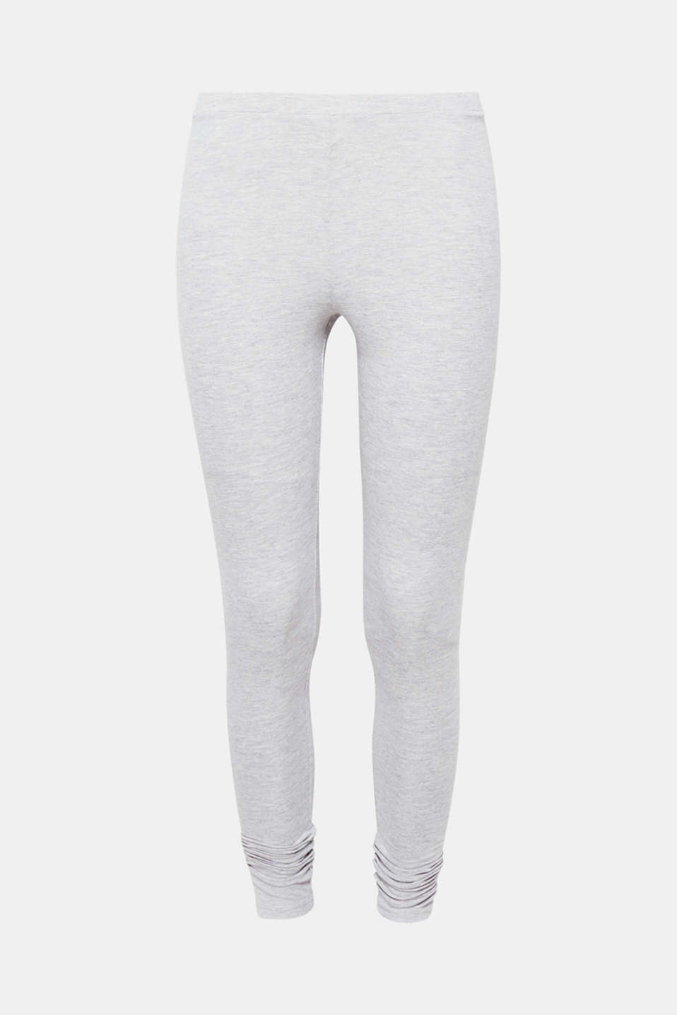 These grey melange leggings with premium organic cotton are an indispensable basic piece.