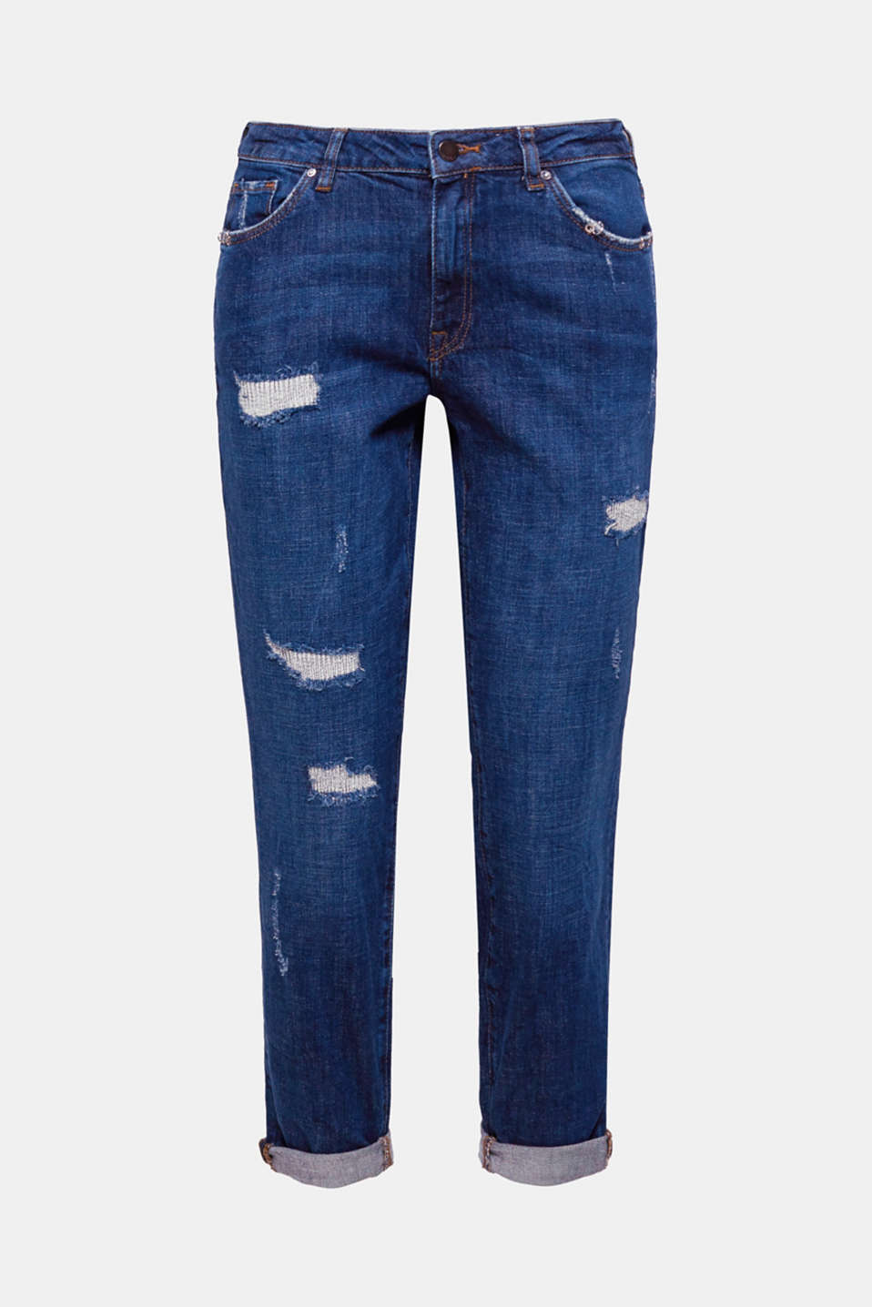 Destroyed-effekter og piercingdetaljer på lommerne giver disse stumpede jeans et smart rock-look.