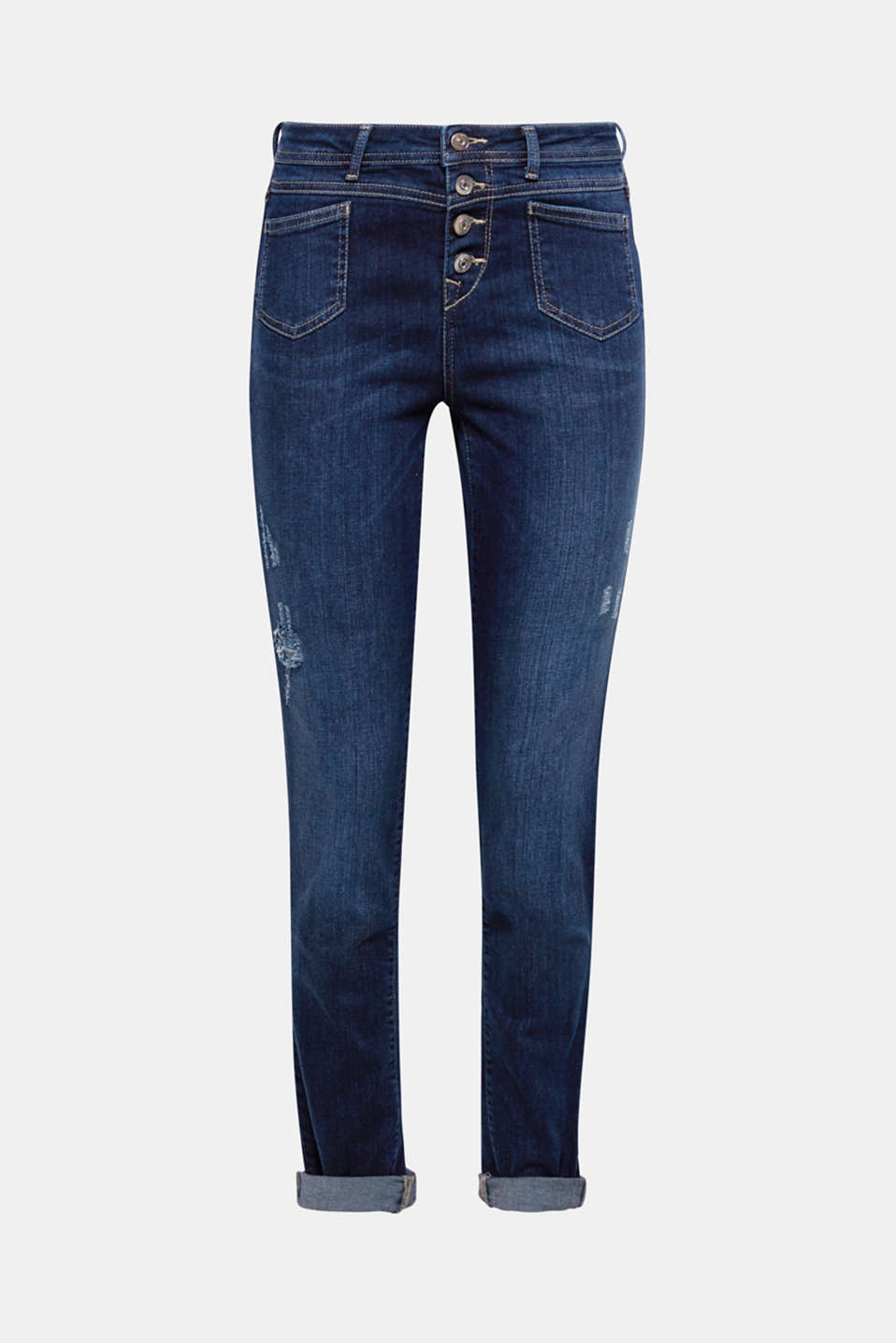 The destroyed finish and full-length button fly make these jeans extremely eye-catching.