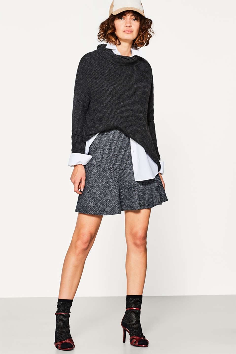 edc - Swirling skirt in ribbed jersey