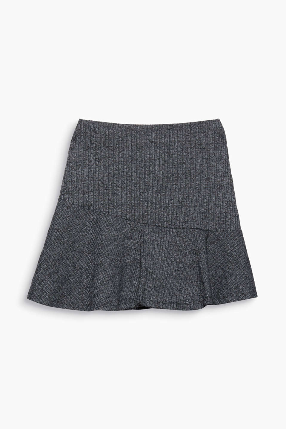 This simple jersey skirt with an elasticated waistband combines a melange ribbed texture with a pretty flounce hem.
