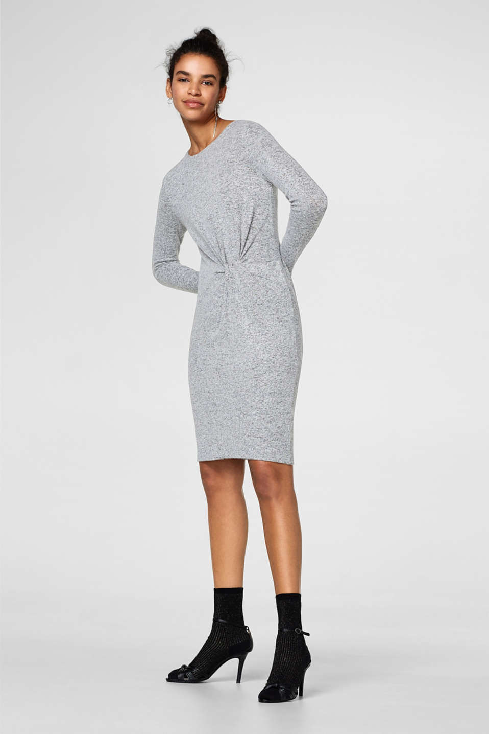 Melange jersey knotted dress