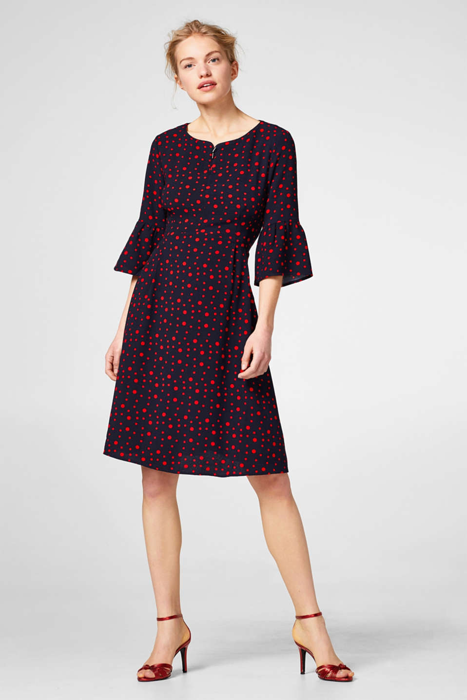 Flowing dress with polka dots