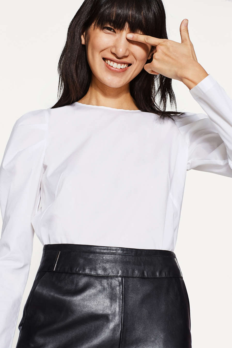 edc - Poplin blouse with draped sleeves