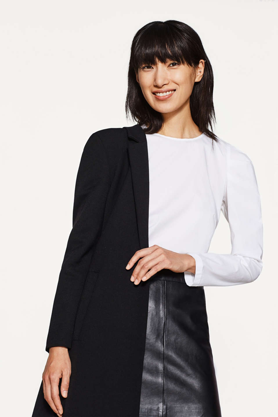 Poplin blouse with draped sleeves