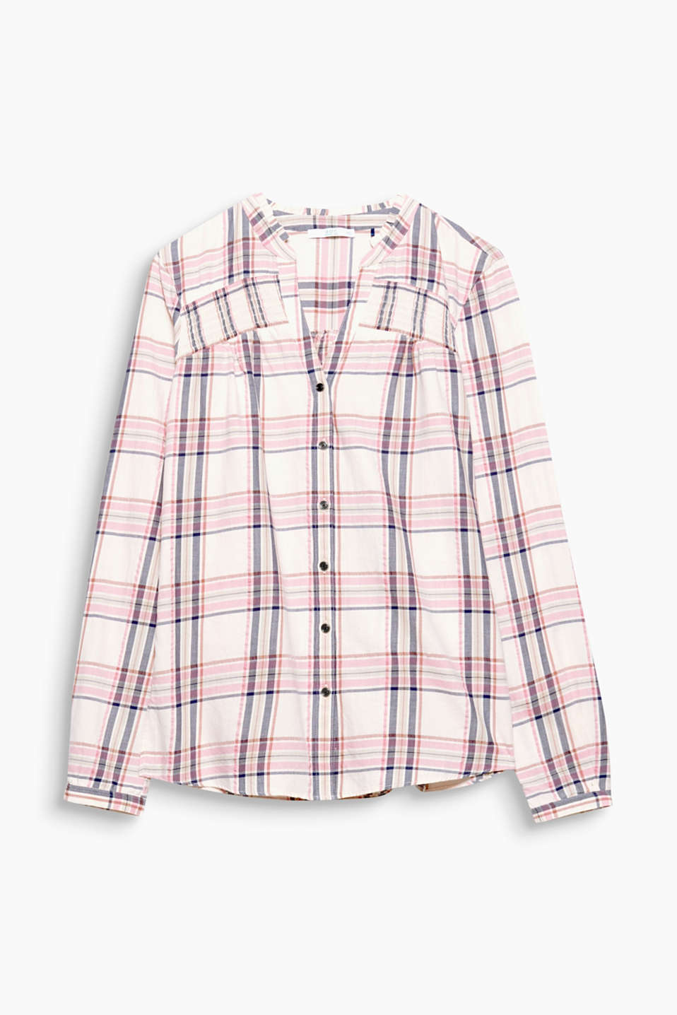 A frilly collar and smocked details give this check blouse made of sustainable organic cotton a feminine twist.
