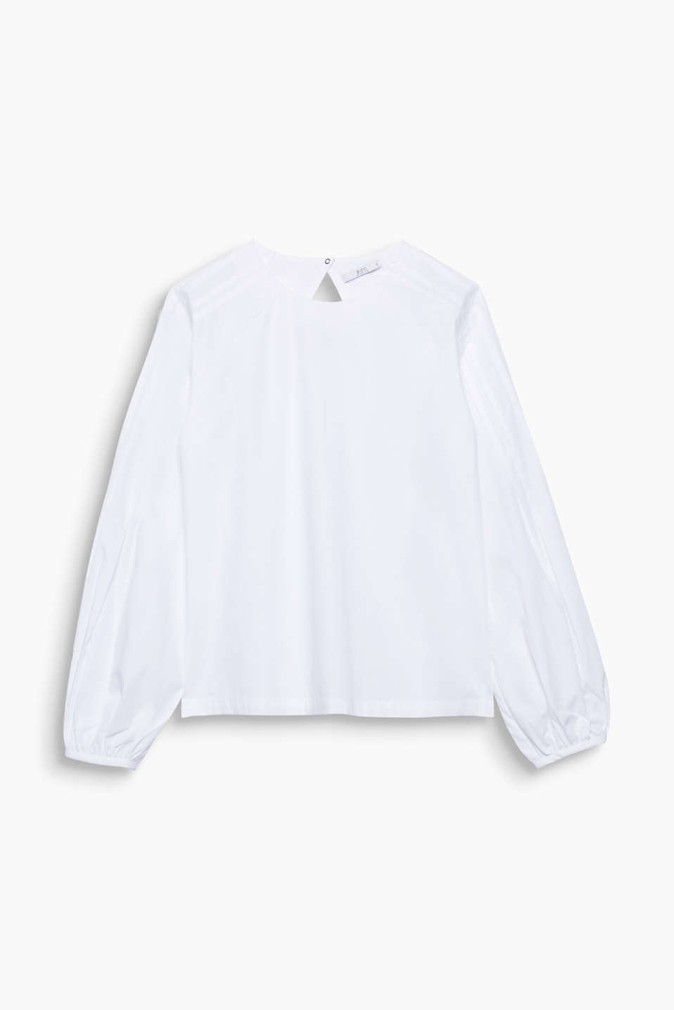 This pure cotton blouse looks beautifully fresh thanks to the pintucks on the shoulders and the wide balloon sleeves!