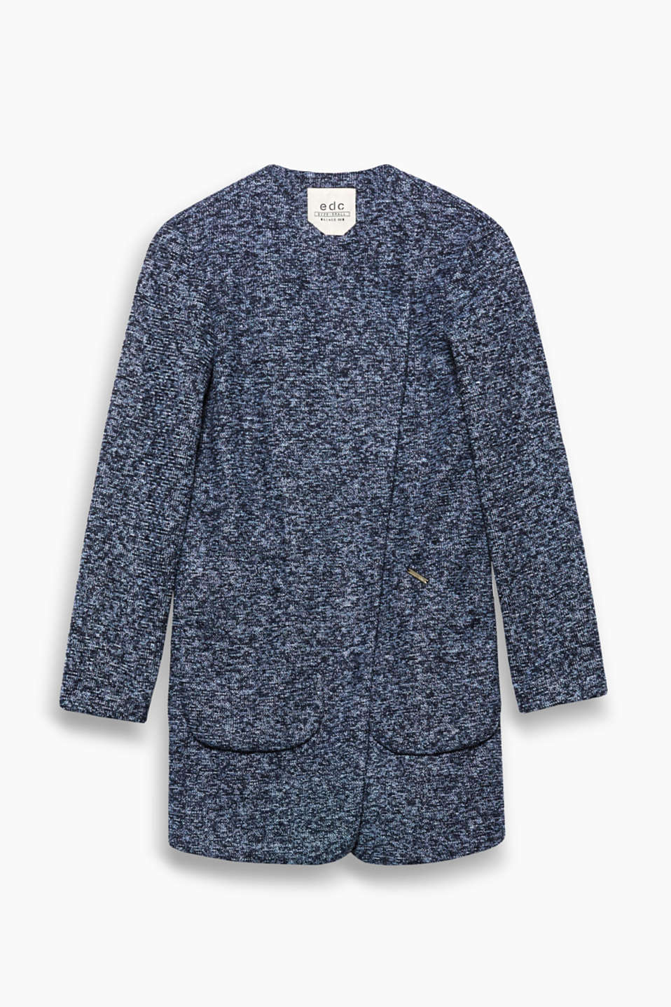 This coat is a fantastic alternative to a cardigan thanks to its open-fronted design in robust melange jersey.