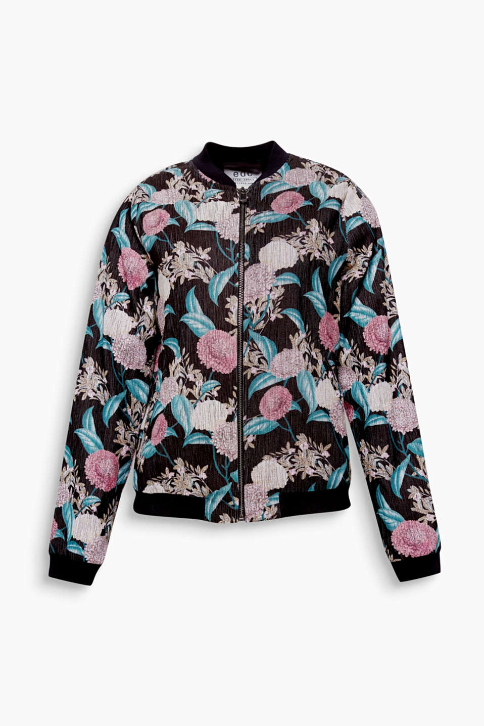 A sporty classic: the bomber jacket. The all-over floral print makes this one super special.