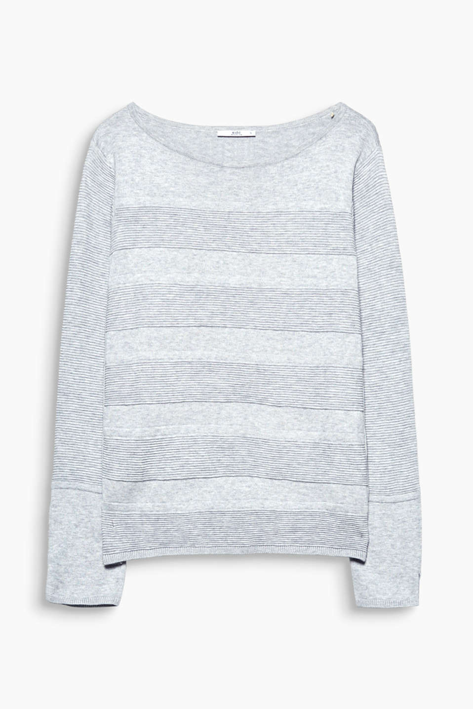The textured, ribbed block stripes give this cool, blended cotton jumper its brand new look!