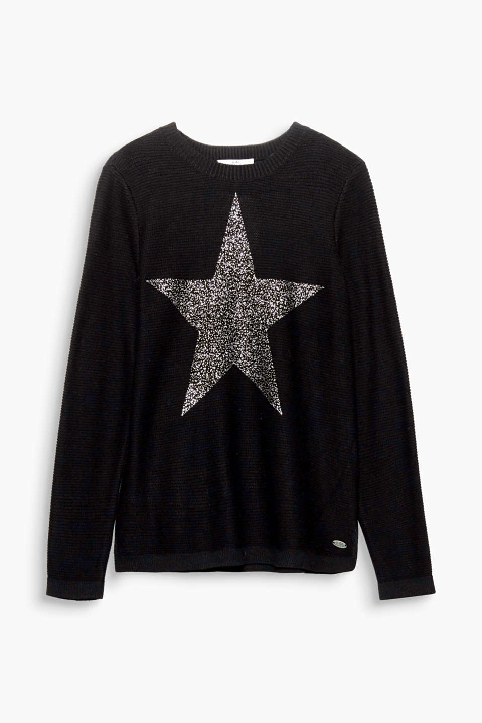 Twinkle, twinkle little star! This soft jumper shines thanks to its metallic, shimmering star print on the front.