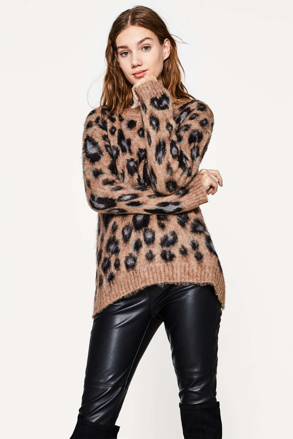 edc - Fluffy leopard jumper with mohair