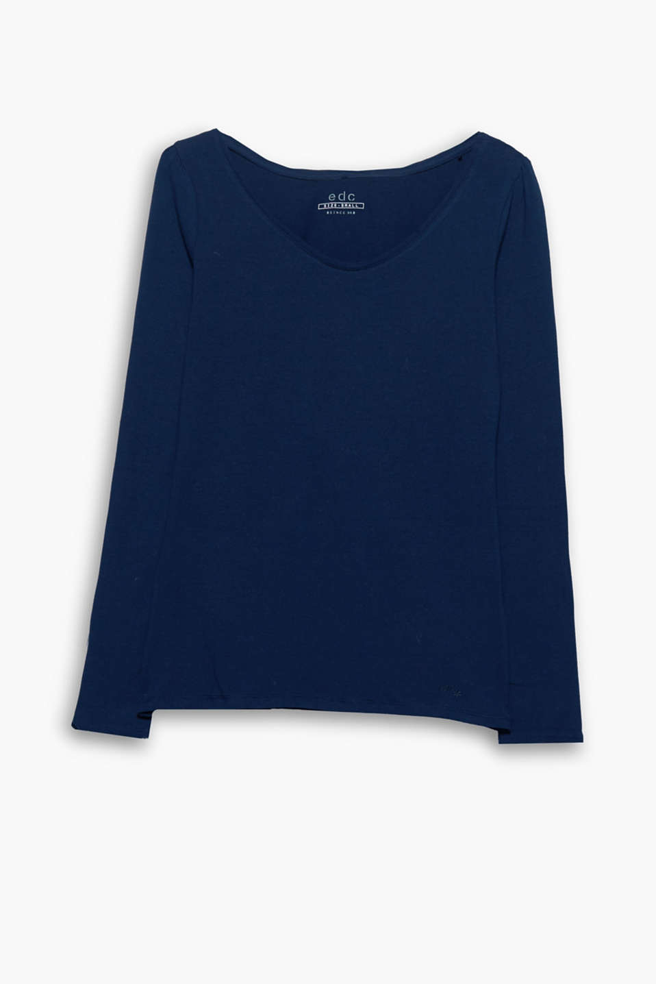 Particularly soft against your skin: long sleeve top made from organic cotton with an added percentage of stretch!