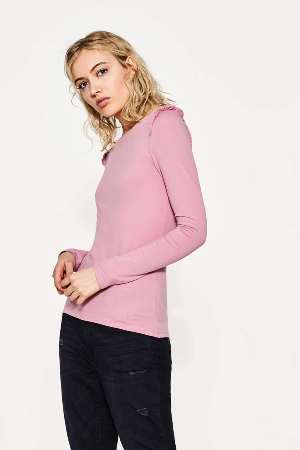 edc - Long sleeve top with frilled details