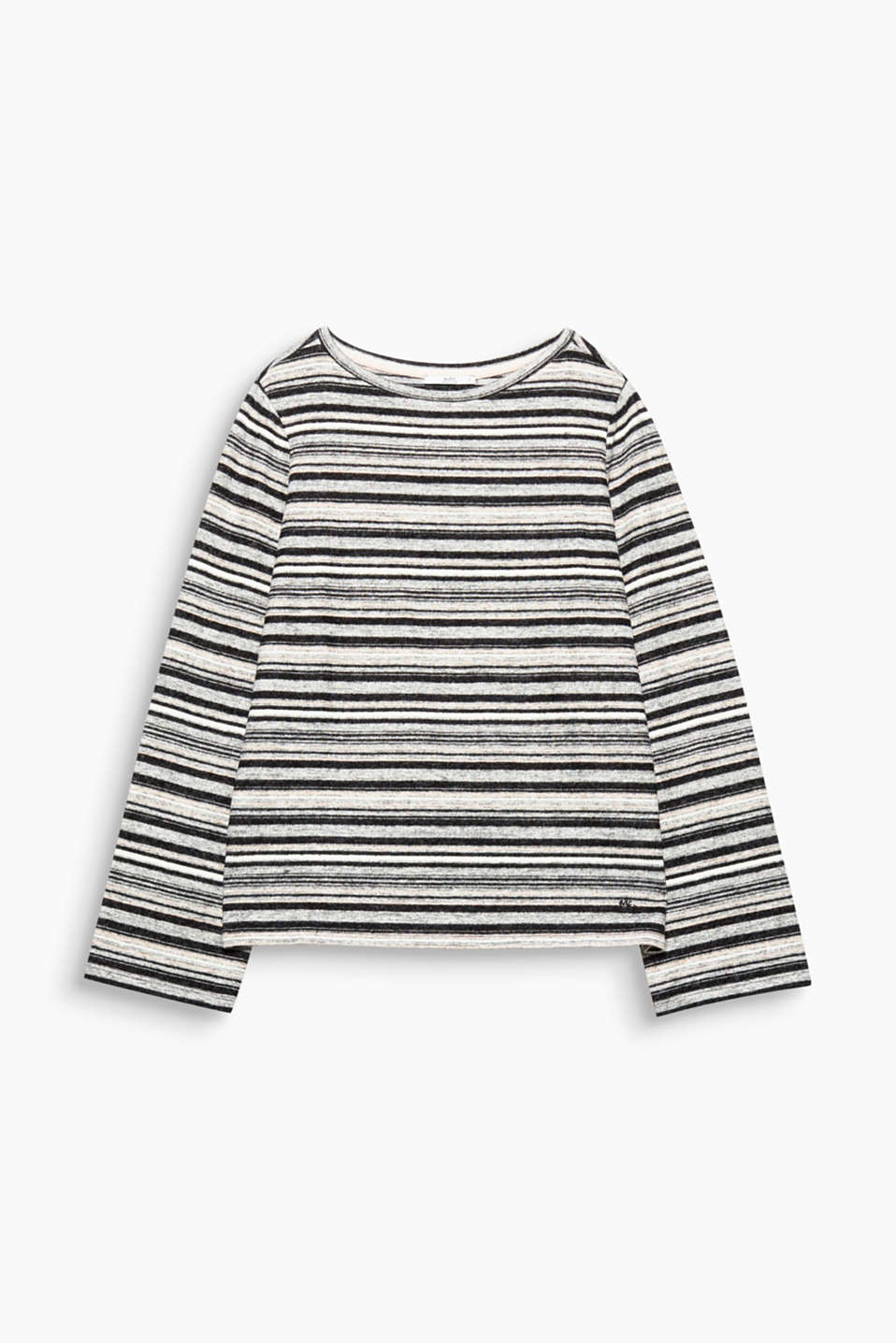 Softly brushed, warming jersey and fine stripes make this relaxed long sleeve top a winter favourite.