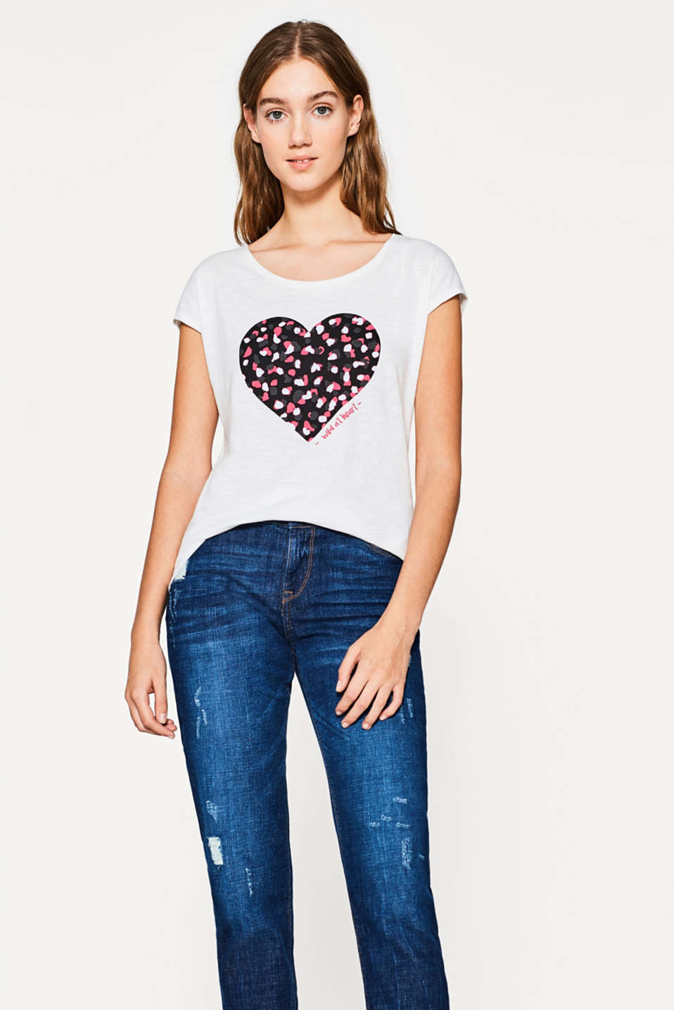 edc - Cotton T-shirt with a heart print