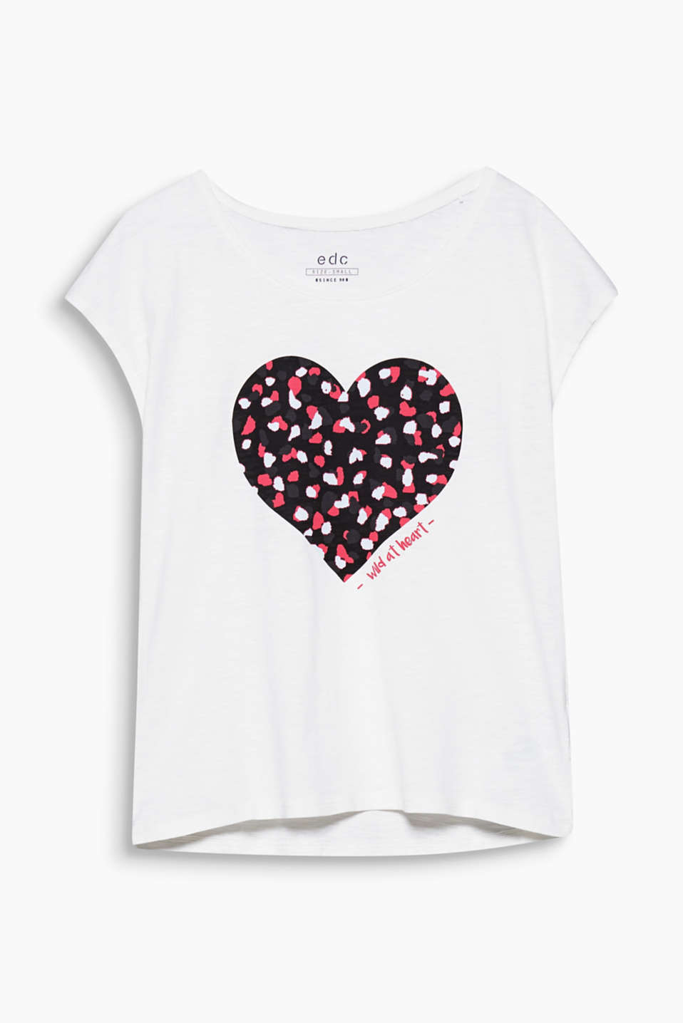 This T-shirt in soft slub jersey boasts a heart print in a trendy leopard look.