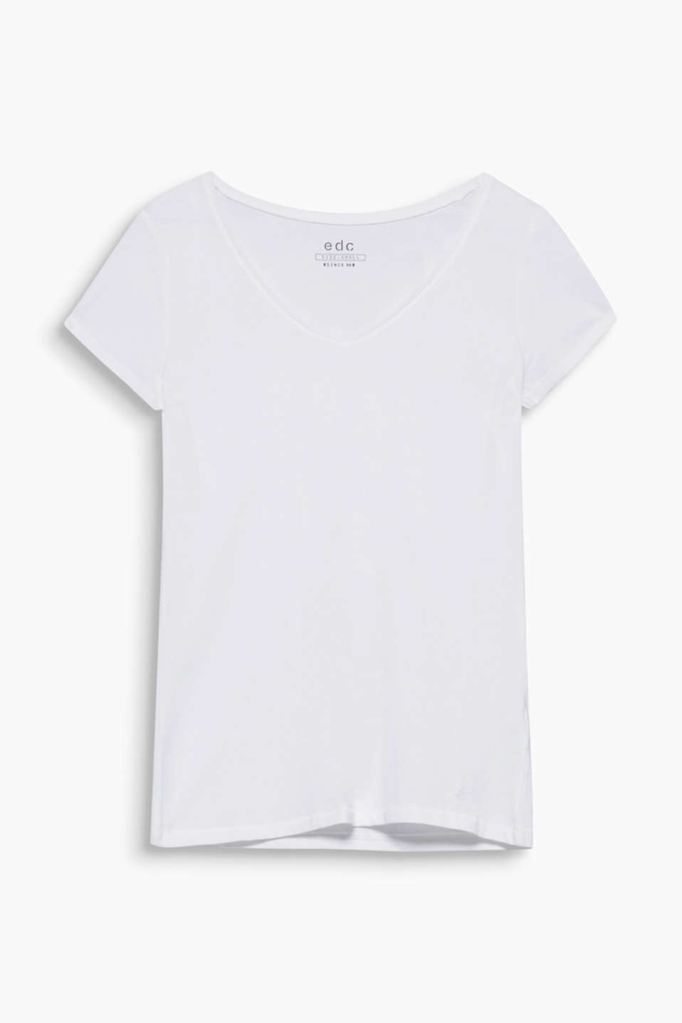 The perfect essential: slightly fitted T-shirt with a wide V-neck, 100% cotton