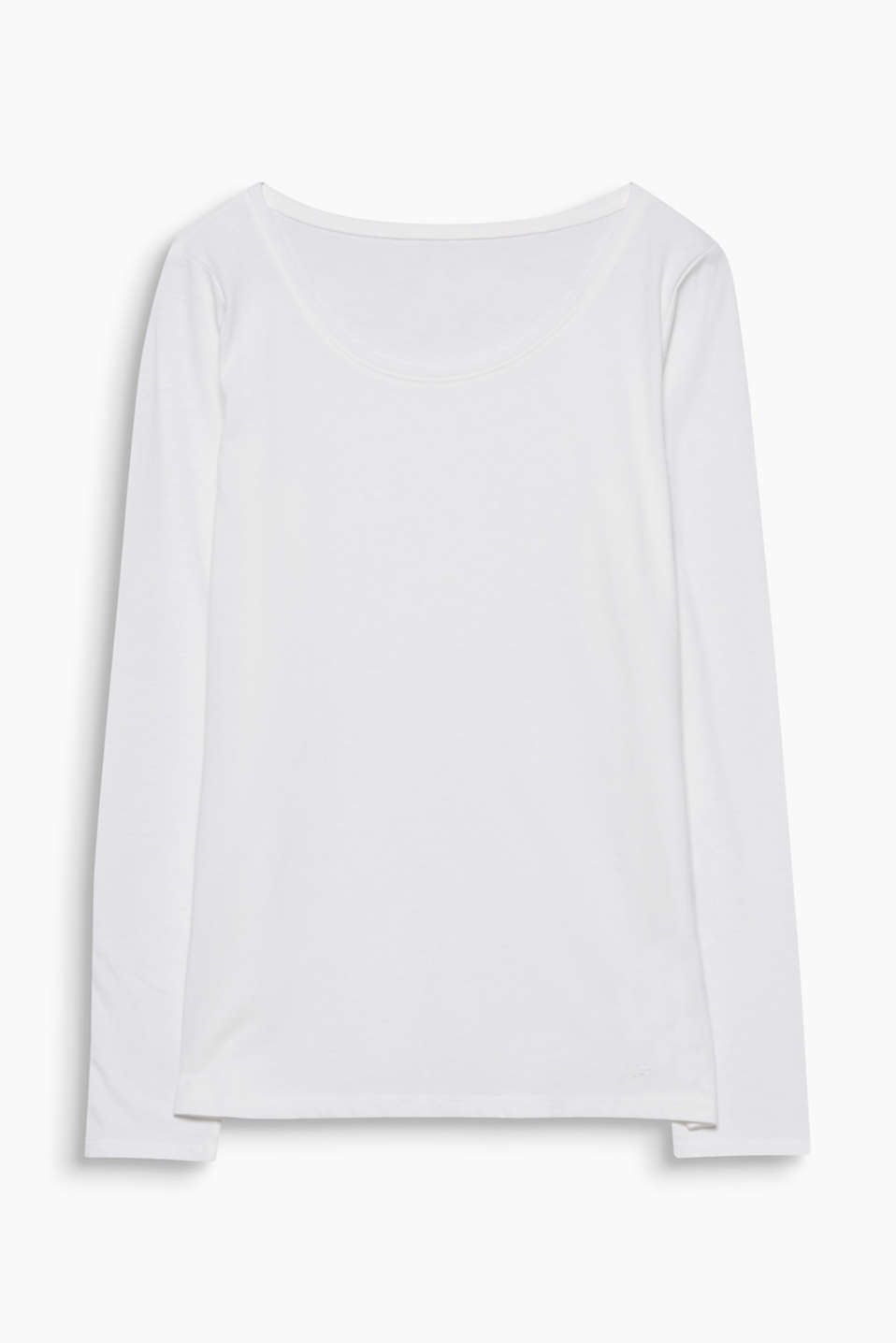 Good for you and the environment: slightly fitted long sleeve top with organic cotton and a large wide neckline.
