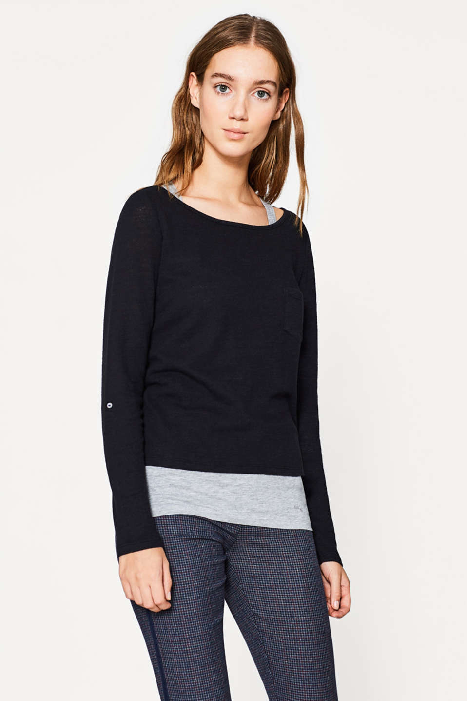 edc - Textured 2-in-1 long sleeve top
