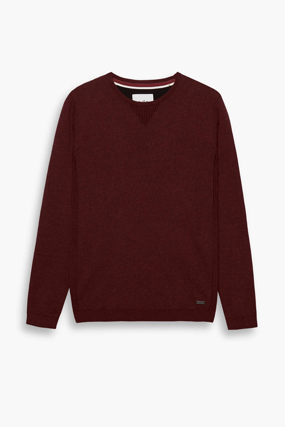 The melange two-tone look makes this fine knit jumper a timeless, sporty companion.