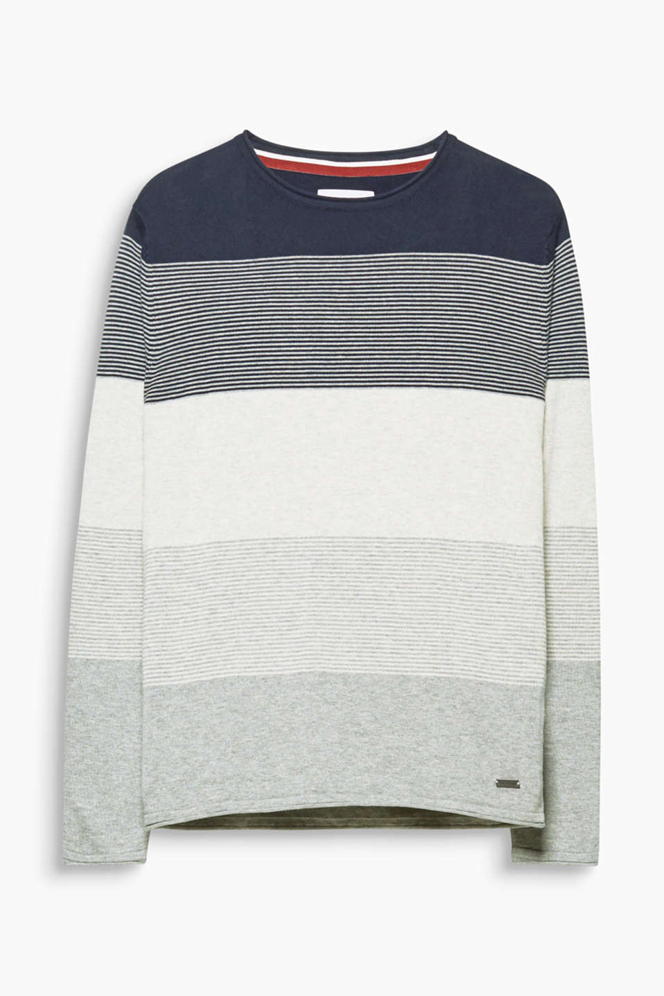 A cool stripe mix: This jumper is made of heavy jersey and features block stripes with different textures.