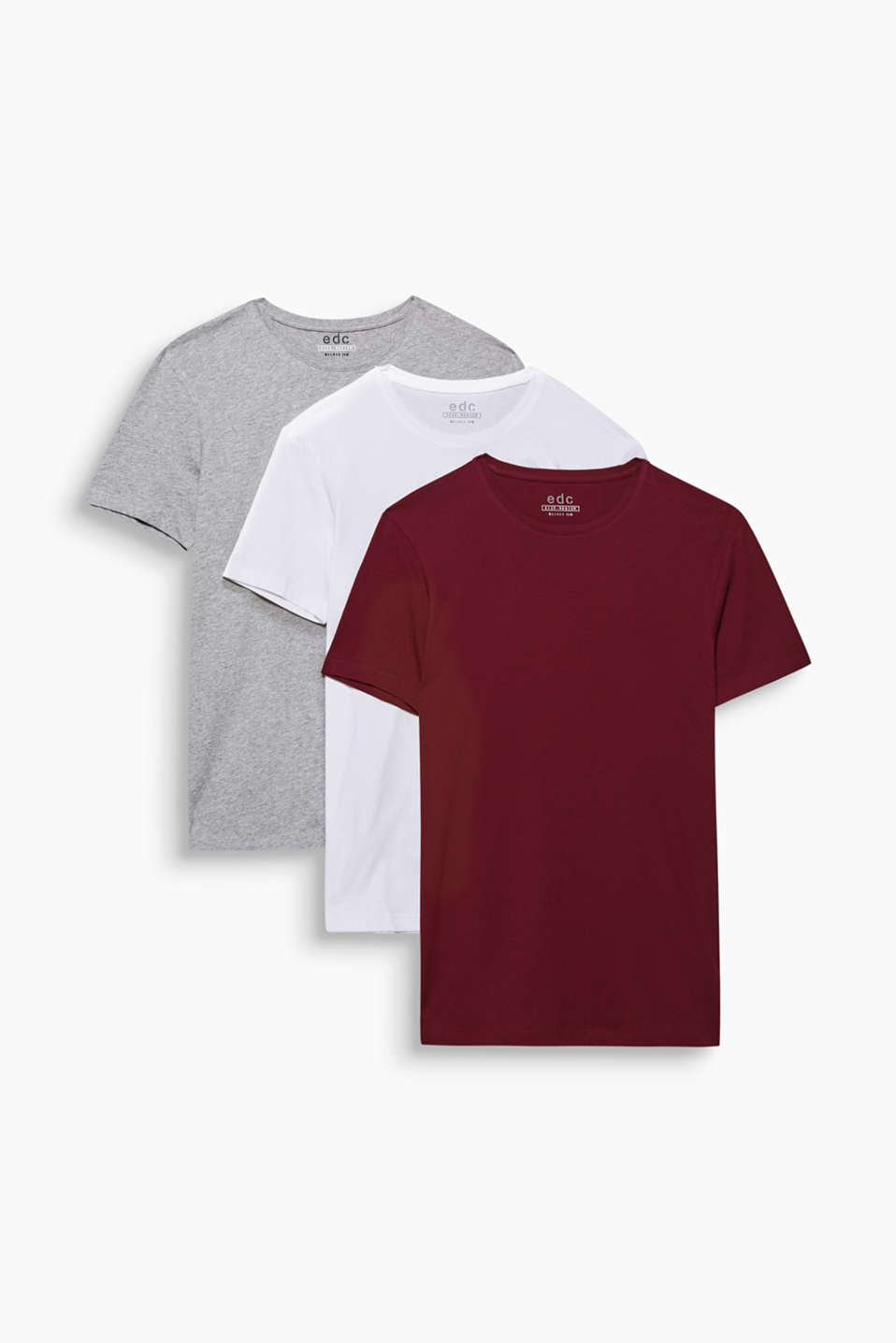 Three colours, three autumn essentials: Three-pair pack of T-shirts with a round neckline in 100% cotton